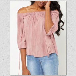 Tops - Light Pink Washed Off Shoulder Top